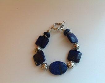 Lapis Oval and Sqares Natural Gemstone Bracelet