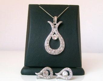 Art deco crytsal rhinestone silver jewelry set bridal jewelry bridesmaid gifts wedding jewelry set valentines day gifts birthday gifts