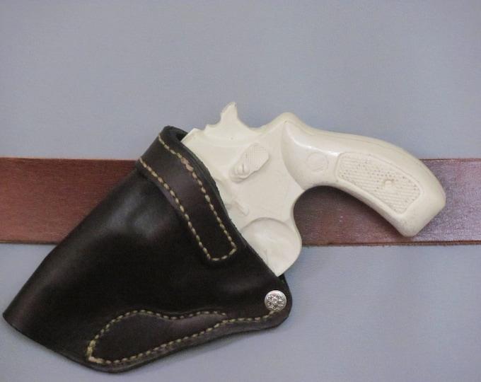 "Genuine  brown leather hand gun holster .revolver holster, dark brown leather holster, custom made, J frame, 2"" barrel leather holster (120)"