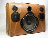 Vintage Soft Side Tan Suitcase Stereo Music Machine with Bluetooth