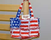 American Flag Rag Quilt Purse