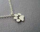 Paw Print Necklace Pendant - Sterling Silver - Cats and Dogs Paws  - Animal Jewelry