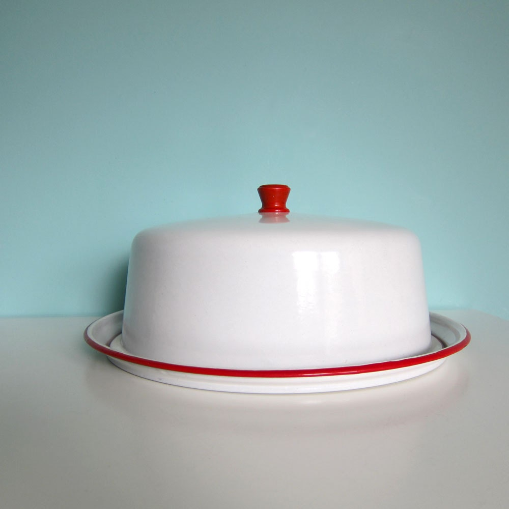 Vintage Red Glass Cake Stand