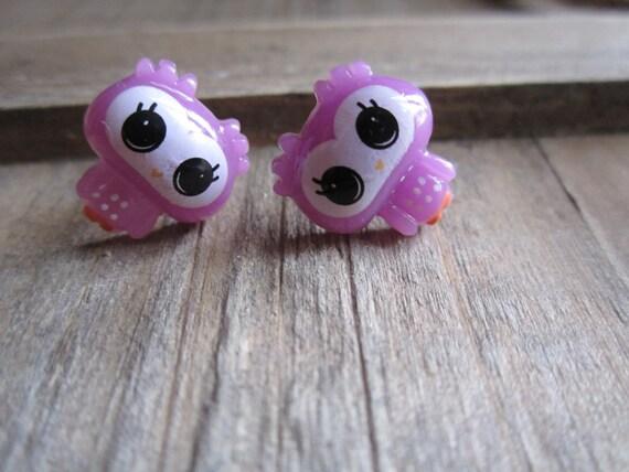 Purple Owl Stud Earrings