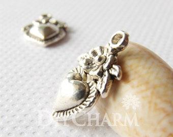 Antique Silver Tone Heart With Upper Flower Pendant 14x10mm - 20Pcs - DF15310