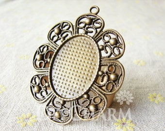 Flower Brim Cameo Cabochon Base Settings 61x48mm ( Inner Size 30x22mm ) - 2Pcs - DS24340