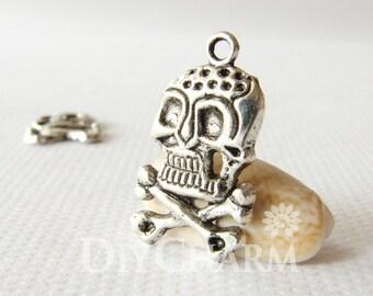 Tibet Silver Tone Skeletons Skulls And Crossbones Charms 25x15mm - 20Pcs - DF21058