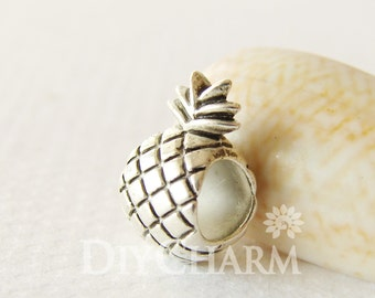 Pineapple Beads With 5mm Hole In Silver Tone 12x7mm - 10Pcs - AR26968