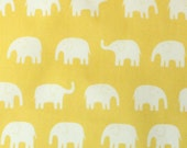 SALE! -1 Yard Japanese Elephant Fabric in Yellow - light weight cotton canvas