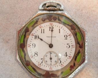 ANTIQUE Vintage Hand-painted Waltham Ladies Octagon Pocket Watch or Pendant Art Deco Art Nouveau Painting Runs