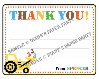 Bulldozer Thank You Cards DIY Printable File Personalized