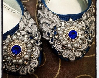 Wreath of Silver Bridal Ballet Flats Sapphire Blue Wedding Shoes - Any Size - Pick your own shoe color and crystal color