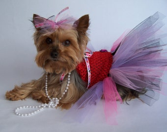 Dog TuTu Dress for toy breeds -Hair bow included Ready to ship