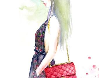 Watercolor Fashion illustration print -  Chanel Red Handbag