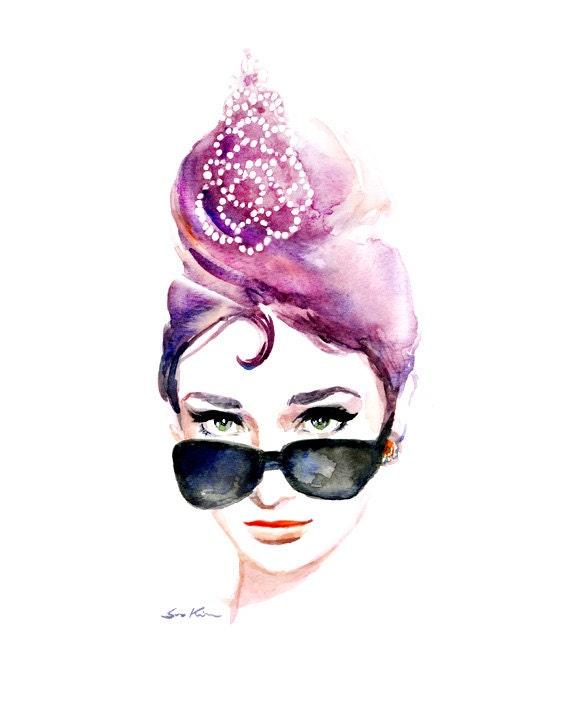 Audrey hepburn iconic sunglasses breakfast at by sookimstudio - Cuadros audrey hepburn ...