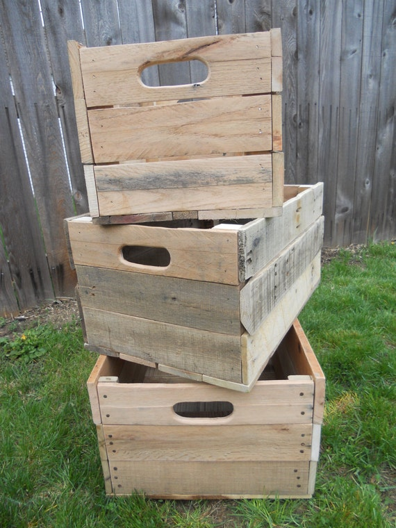 Items similar to pallet storage crates reclaimed wood for Storage box made from pallets