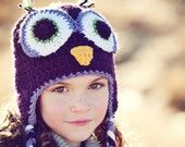 Crochet Purple Owl Hat, Child, Teen and Adult sizes