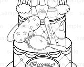 Personalized Printable Rainbow Spa party  cake Favor childrens kids coloring page activity PDF or JPEG file