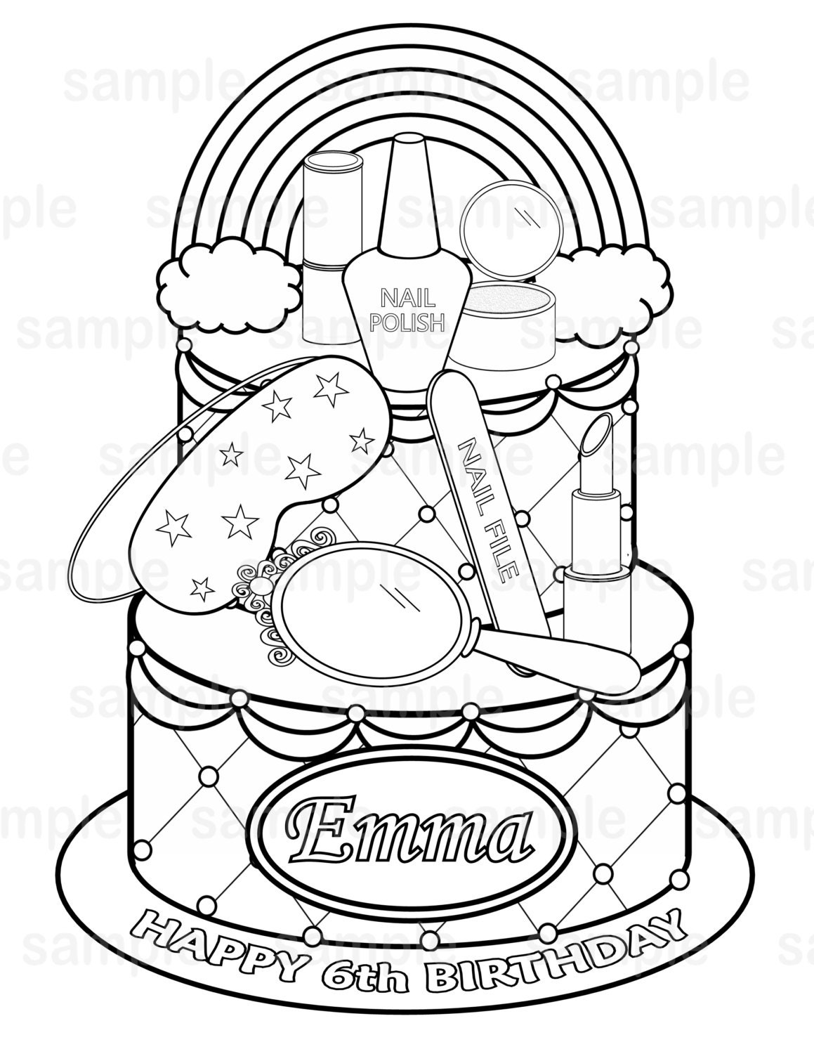 personalized printable rainbow spa party cake favor childrens