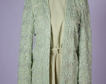 Green Princess Leia inspired 1970s dress with matching beaded jacket - Jack Bryan