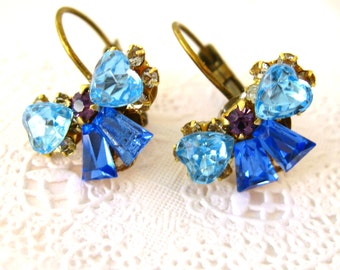 Blue bow crystal earrings Blue and Aqua Swarovski vintage crystals. Bow earrings. Antiqued Gold leverback. Bridal Prom Wedding