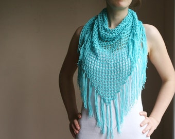 Fishnet Scarf in Aqua with Fringes - Turquoise Pareo - Beach Wrap - Shawl with Tassels - Spring Summer Fashion - Women Teens Accessories