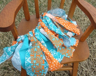 Turquoise and Orange Fabric Tutu - scrap tutu fabric tutu skirt rag skirt scrappy skirt