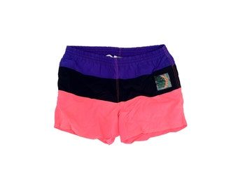 Stellar 80s Neon Colorblock Surfer Swim Trunks - 36 to 40