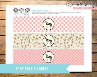 Vintage Pony Party Bottle Labels INSTANT DOWNLOAD