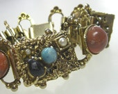 Victorian Revival Bracelet Bookchain Links Vintage 1950s Jewelry Faux Turquoise
