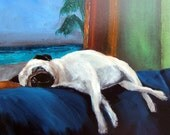 "Pug  Art Print of an original oil painting / ""Couch Pugtato"" / 8 x 10 / Dog Art"