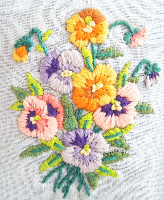 Sale vintage framed embroidery wall hanging embroidered