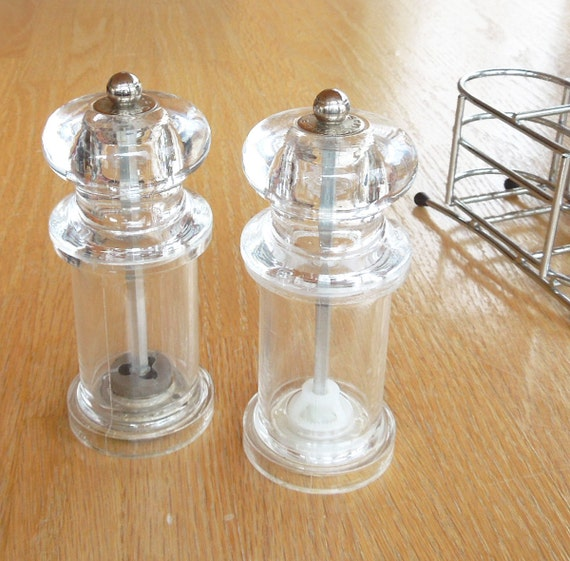 Vintage Cole And Mason Salt And Pepper Mills With Metal Caddy