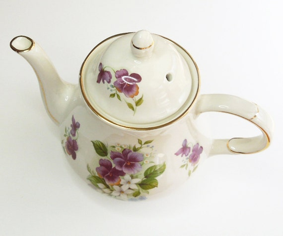 Vintage Arthur Wood & Son teapot with purple pansies - Staffordshire England