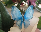 SALE 12 Turquoise Nylon Butterflies for Wedding Accessories, Party Favors, Baptism, Flower arrangement, Crafting, 2 inches / 50 mm