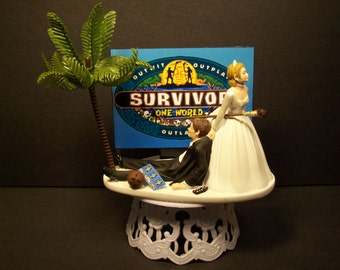 Reality TV Bride and Groom Funny Wedding Cake Topper Outwit Outplay Out last
