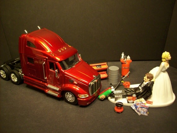 semi truck wedding cake toppers auto mechanic peterbilt tractor trailer semi by mikeg1968 19742