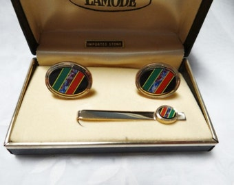 Stone Cuff Links and Tie Bar Set - Inlaid Imported Stone - Lamode - Original Case Included - Vintage