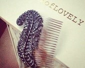 "Art Deco Navy Blue Ostrich Feather Crystal Bridal Comb, ""SOMETHING BLUE"""