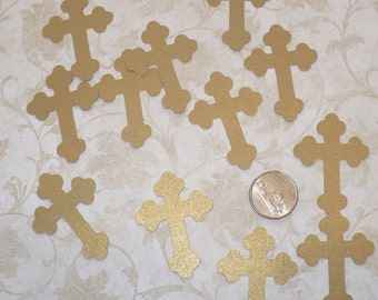 12 pcs Gold Shimmer Cross Die Cuts Made from Cardstock
