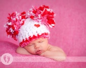 SALE & READY Sweet Baby Girl Hat -  Baby Valentines Hat  with Big Pom Poms and Heart Button - Great Texture