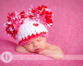 READY Sweet Baby Girl Hat -  Baby Valentines Hat  with Big Pom Poms and Heart Button - Great Texture