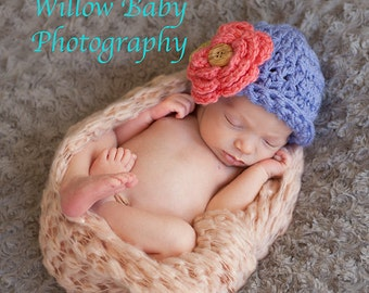 Baby Girl Hat - Baby Hat  - Too Cute Lavender with Coral Flower and Button  - Very Soft 0-3. 3-6 and 6-9