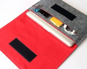 Organizer for 13 inch macbook pro, 12 inch macbook organizer, padded laptop case with pocket - Gray & Red