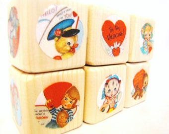 Valentines Gift for Children.  Wood blocks.  Red.  Building blocks. RETRO toy. Valentines Day Gift. Heart decoration. Decor.