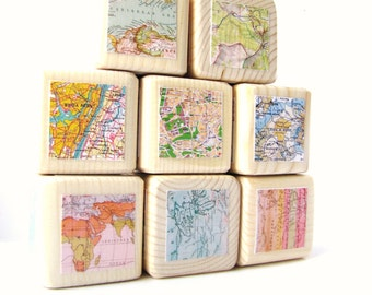 Map Blocks. Wood Toy. Childrens blocks. Unique Baby gift. Shower Decor. wedding. Modern nursery decor. Trendy, hip. Back to school