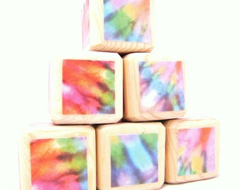 Tie Dye. Baby. Blocks. Hippie Decor. Nursery. Wood toy. Baby Shower Decoration. Retro. Rainbow. Toddler gift.