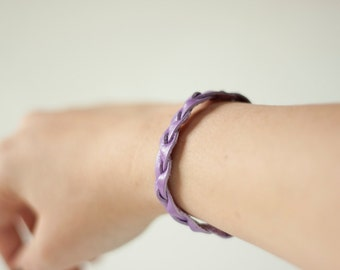 Braided Leather Bracelet / Purple / Whimsy