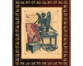 """Skeleton Angel Anatomical Illustration from 1760 on Antique Book Page Art Print 8""""x10"""""""