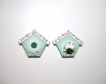 Magnet, refrigerator magnet, ceramic birdhouse magnet, set of two magnets